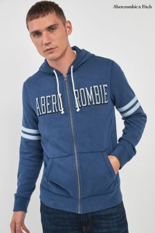 Abercrombie & Fitch Blue Logo Zip Through Hoody