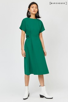 Warehouse Green Button Side Tab Midi Dress