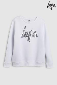 Hype. White Sequin Script Sweatshirt