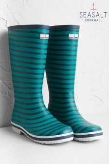 Seasalt Green Tall Printed Wellies Navax Point Emerald