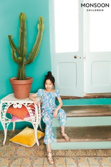 Monsoon Blue Floral Shirred Jumpsuit
