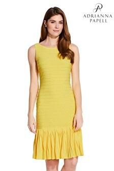 Adrianna Papell Yellow Flounce Hem Pintucked Dress