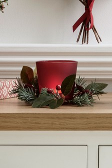 Artificial Winter Berry Candle Holder