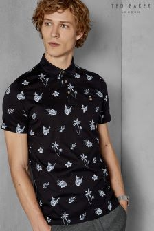 Ted Baker Black Midge Tropical Print Polo