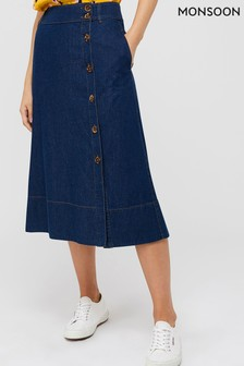 Monsoon Ladies Blue Maya Midi Denim Skirt