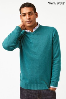 White Stuff Teal Klite Cotton Cashmere V-Neck