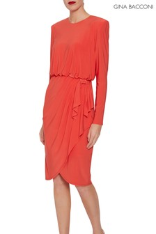 Gina Bacconi Orange Rayna Jersey Dress