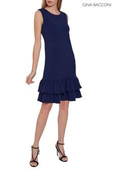 Gina Bacconi Blue Inaya Stretch Crepe Dress With Frills