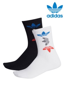 adidas Originals Kids Black Trefoil Crew Socks Two Pack