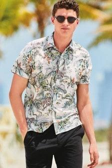 Short Sleeve Leopard Printed Shirt