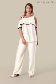 Live Unlimited Ivory Satin Trouser
