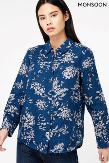 Monsoon Blue Dahlia Print Linen Shirt