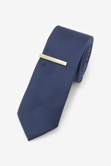 Twill Tie And Tie Clip Set