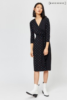 Warehouse Black Multi Colour Spot Wrap Dress