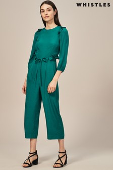 Whistles Green Frill Jumpsuit