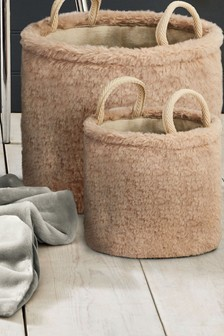 Set of 2 Fur Storage
