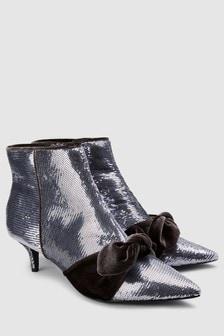 Sequin Kitten Heel Ankle Boots
