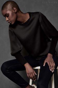 Ted Baker Ted Says Relax Black Satin Top