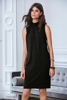 High Neck Tie Back Shift Dress