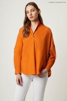 French Connection Orange Rhodes Poplin Popover Shirt