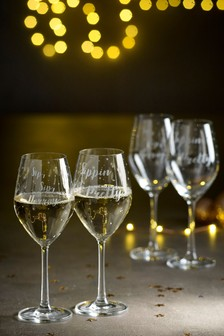 Set of 4 Slogan Wine Glasses