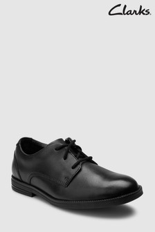 Clarks Black Leather Rufus Edge Lace Shoe
