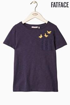 FatFace T-Shirt mit Tasche im Schmetterlingsmuster, blau
