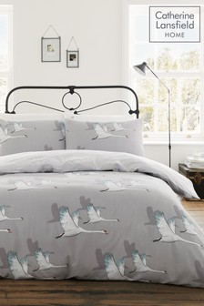 Catherine Lansfield Swan Duvet Cover and Pillowcase Set