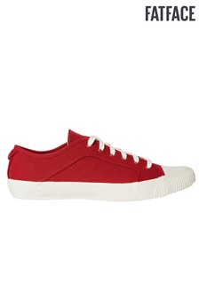 FatFace Red Organic Lace-Up Trainer