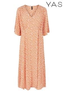 Y.A.S Sustainable Orange Floral Print Lura Midi Dress