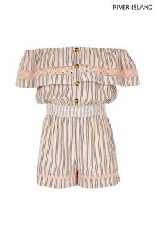 River Island Pink Stripe Bardot Playsuit
