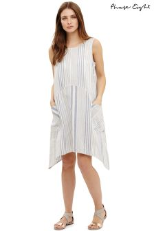 Phase Eight Smoke Blue/Ivory Bay Beach Stripe Dress