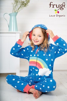 Frugi Organic Blue Rainbow Warm Cotton Onesie