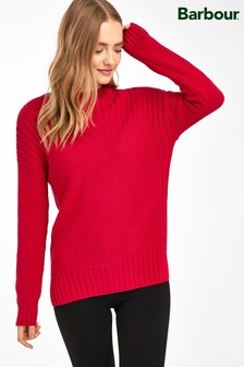Barbour® Red Marled Guernsey Jumper