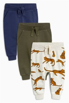 Tiger All Over Print Joggers Three Pack (3mths-6yrs)