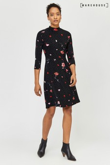 Warehouse Black Floral Spot Flippy Dress