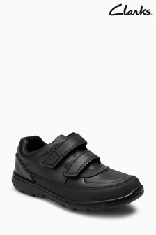 Clarks Kids Black Leather Venture Walk 2 Strap Trainer Shoe