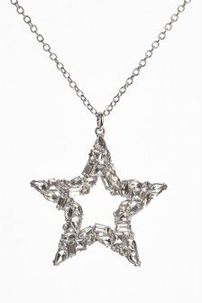 Stone Sparkle Effect Star Long Pendant