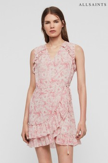 AllSaints Pink Rosa Priya Wrap Dress