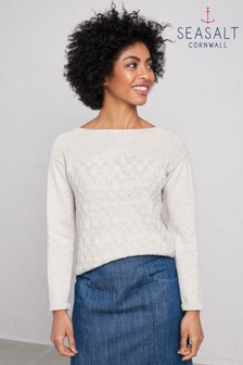 Seasalt Natural Harbour Beach Jumper Ecru