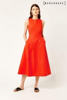 5c24b35cb4 Warehouse Orange Cotton Tie Back Midi Dress