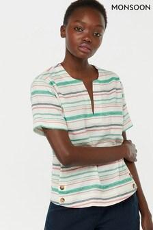 Monsoon Ladies Cream Joslyn Linen Stripe T-Shirt