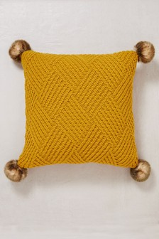 Knitted Pom Pom Square Cushion