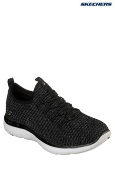 Skechers® Black Knit Vamp Bungee Slip-On With Air Cooled Memory Foam