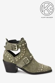 Kurt Geiger Khaki Sybil Stud Ankle Boots