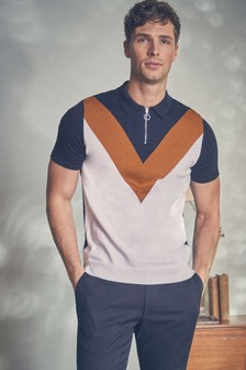 Chevron Zip Polo