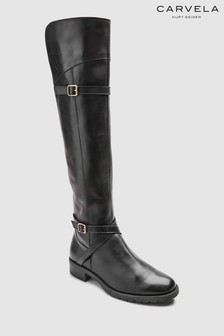 Carvela Viv Overknee-Stiefel aus Leder mit elastischem Einsatz, schwarz