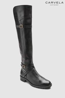Carvela 黑色皮革Viv 彈性布拼過膝長靴