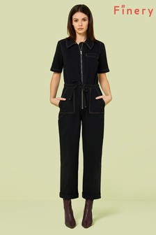 Finery London Black Emmy Denim Jumpsuit