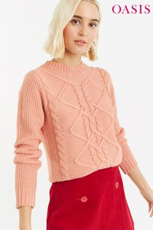 Oasis Pink Nyla Cable Jumper